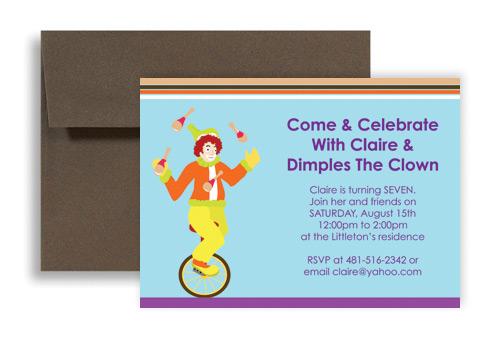 Children Magic Clown Show Birthday Invitation Wording 7x5 ...