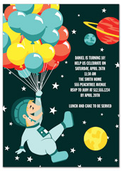 Space Museum Party Birthday Invitation Wording
