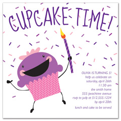 Cupcakes Theme Party Birthday Party Invitations